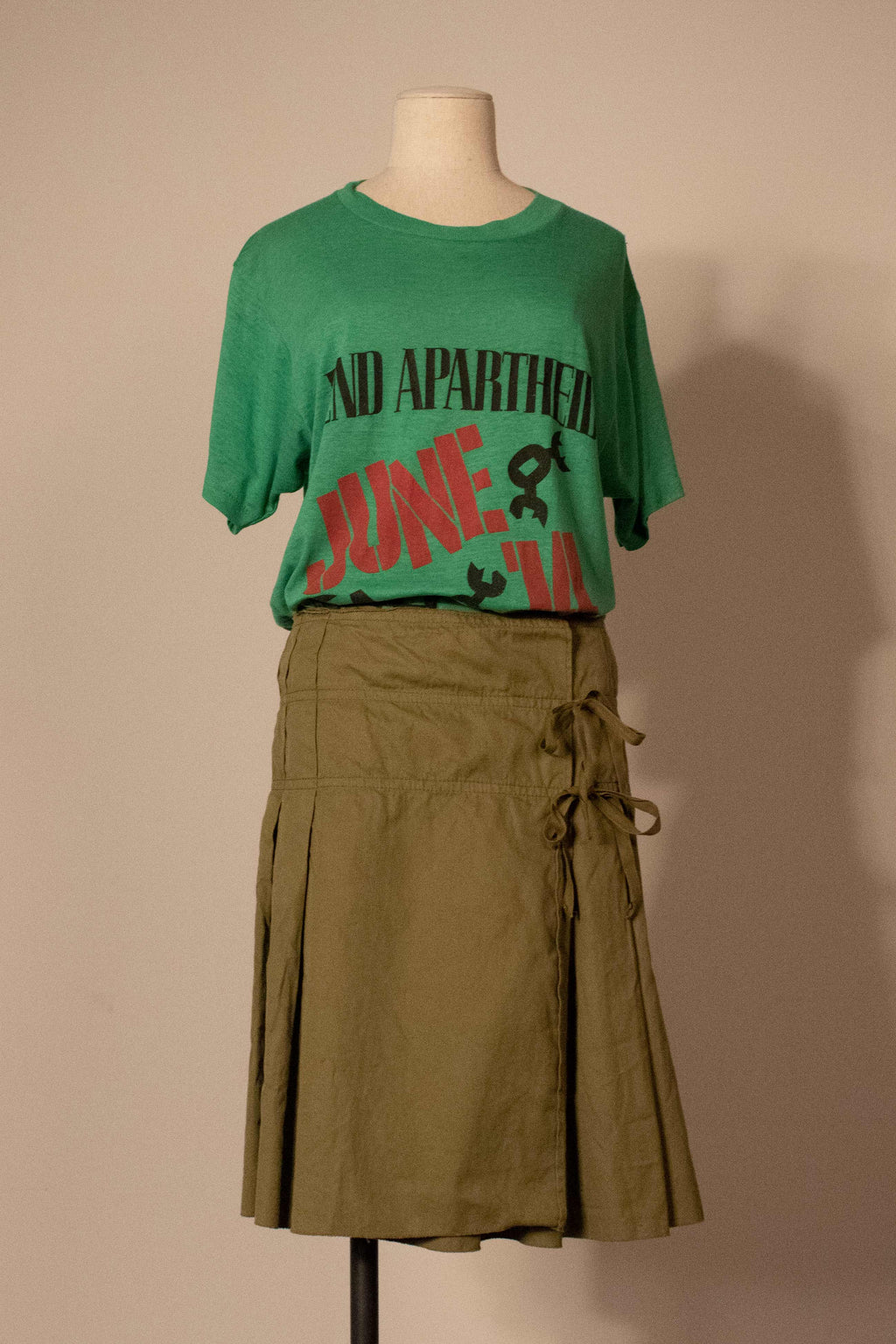 Miu Miu green cotton army skirt
