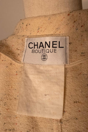 Chanel cream boucle two piece pant suit
