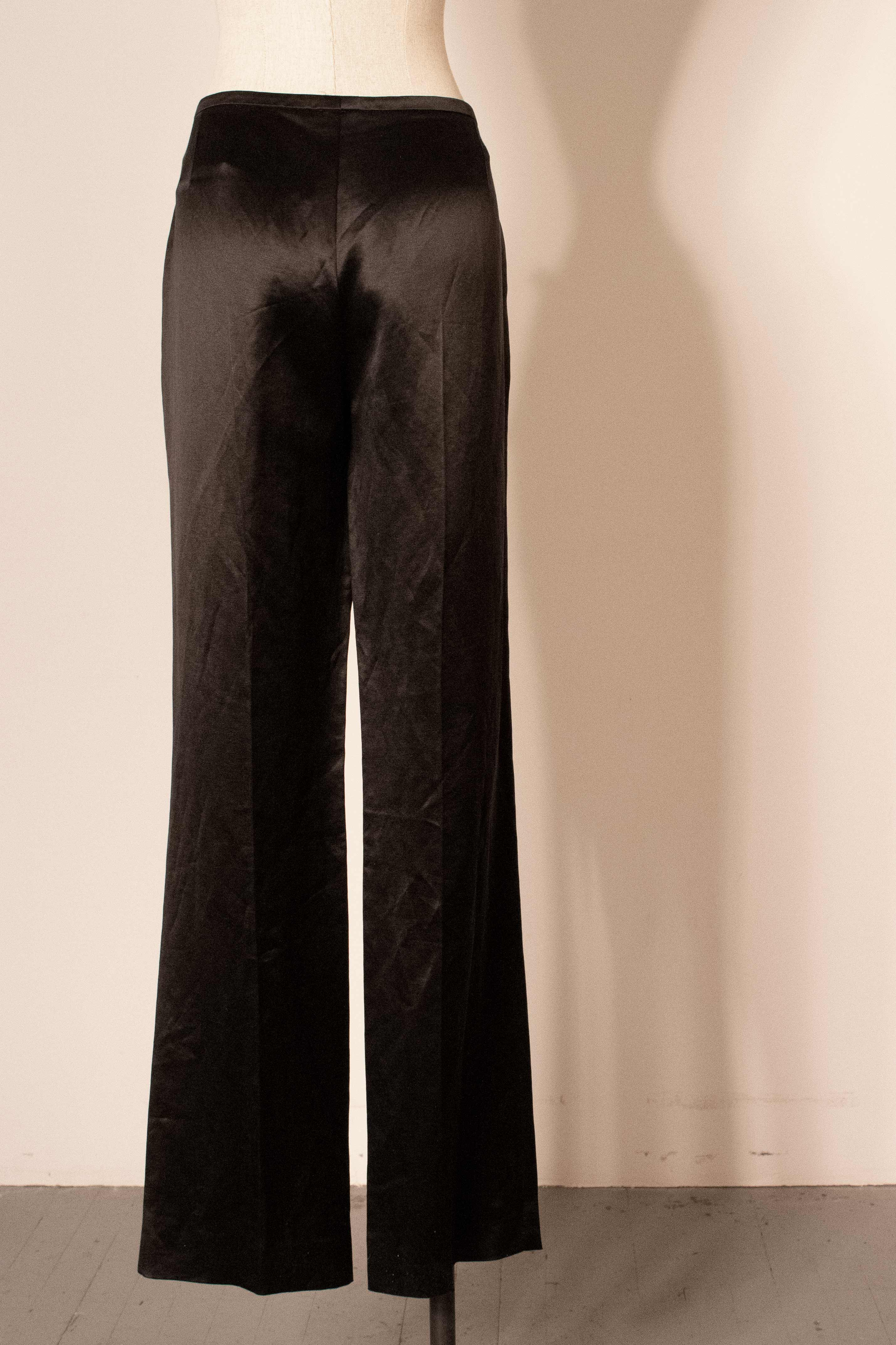 Hermes (by Gaultier) silk satin belted trousers