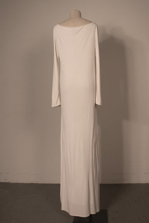 Gucci white stretch rayon crepe maxi dress