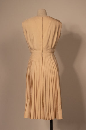 1950s beige raw silk pleated dress