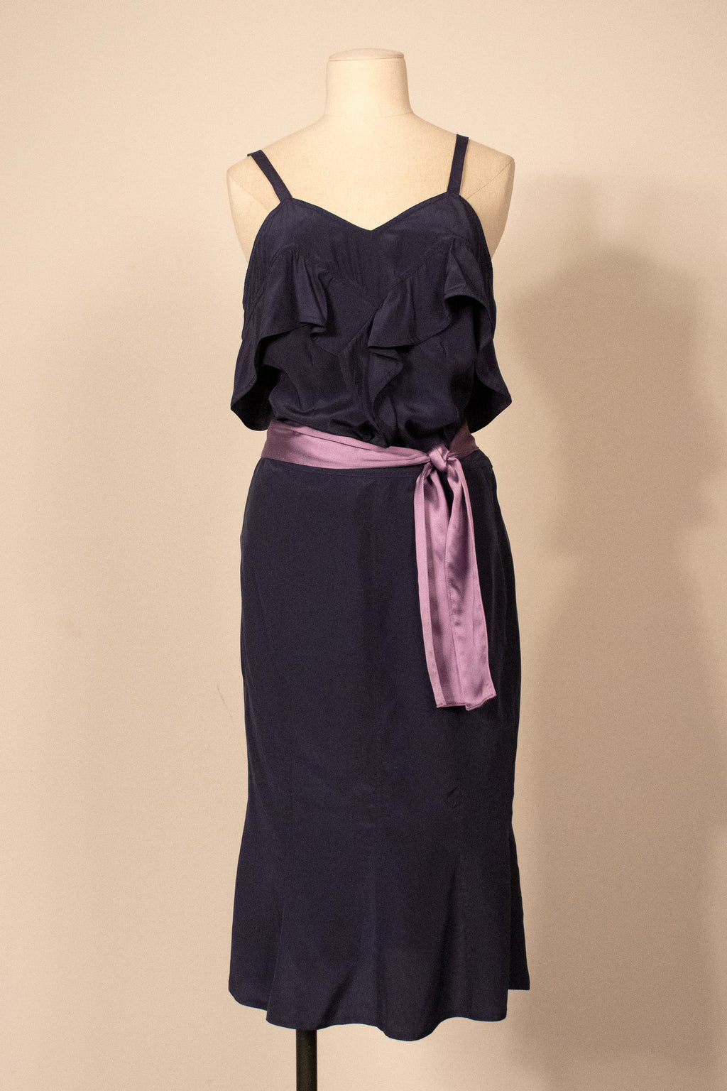 Yves Saint Laurent blue silk skirt set
