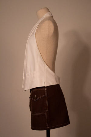 Dries Van Noten white cotton halter vest