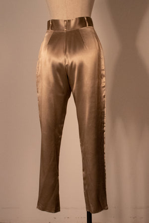Norma Kamali gold rayon high-waist trousers