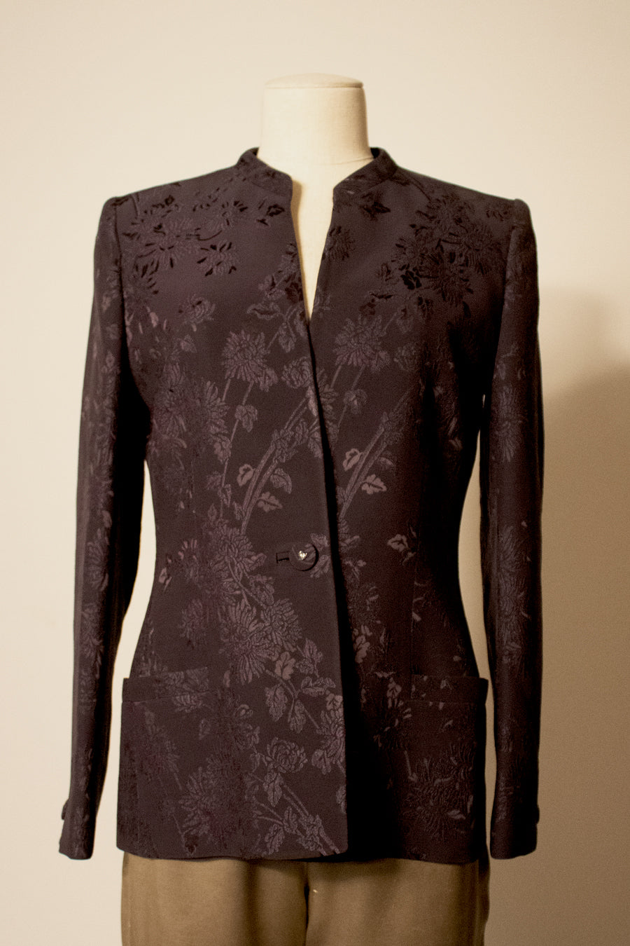 Gianni Versace Couture black rayon-blend brocade blazer
