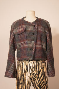 Ungaro grey and multi wool cropped one-pocket jacket