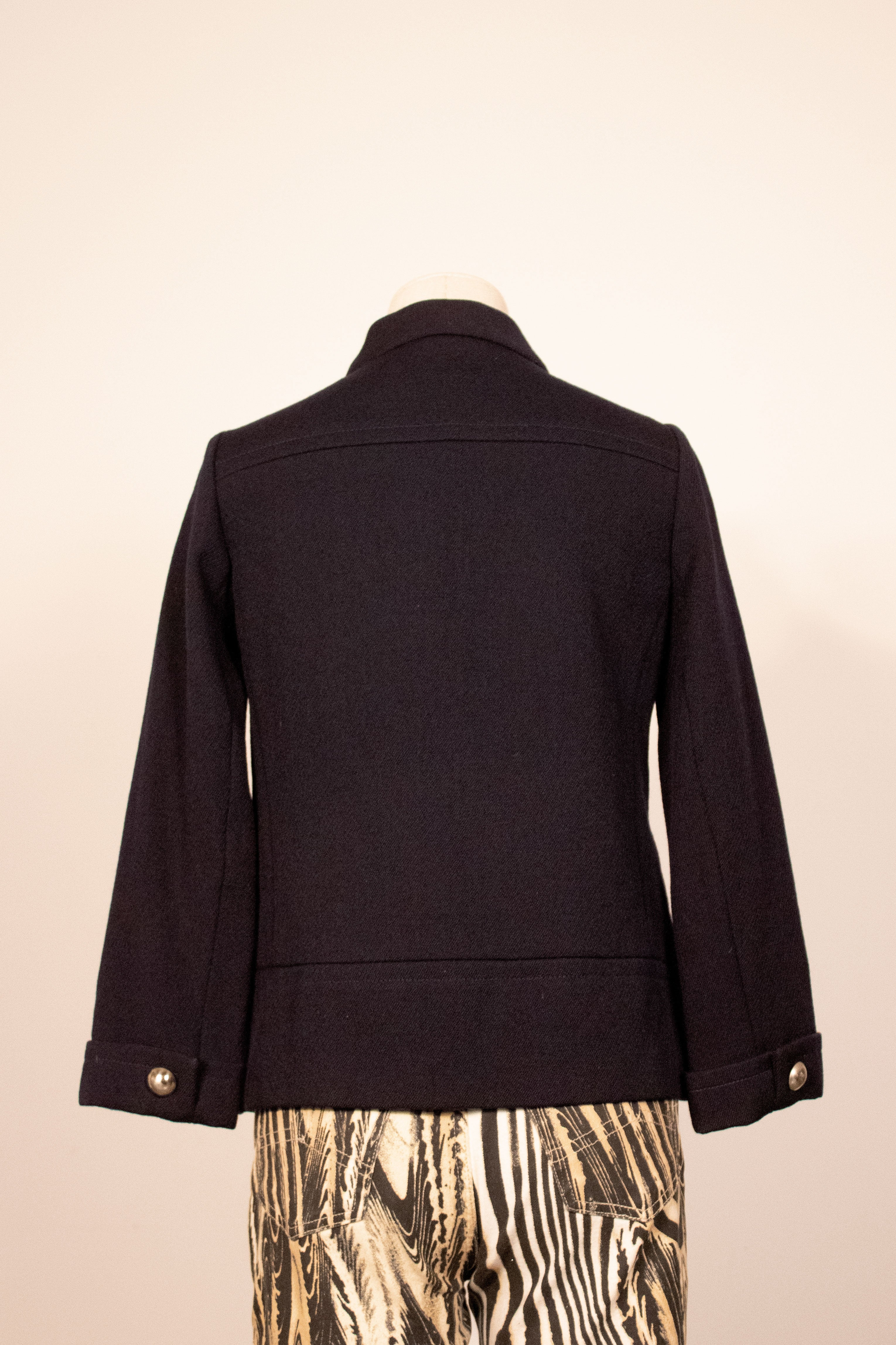 Jacques Heim navy wool military style jacket
