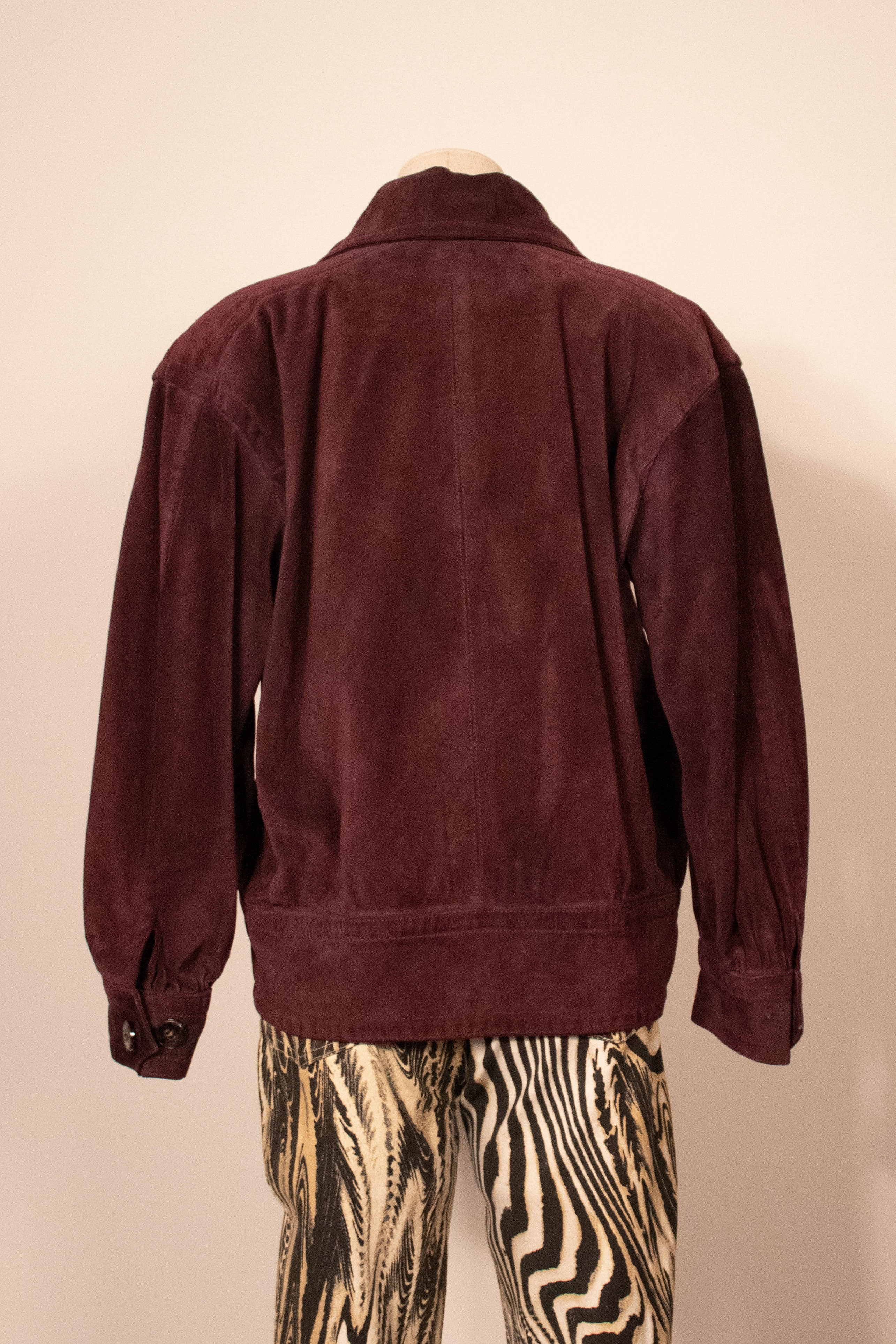 YSL plum suede bomber jacket