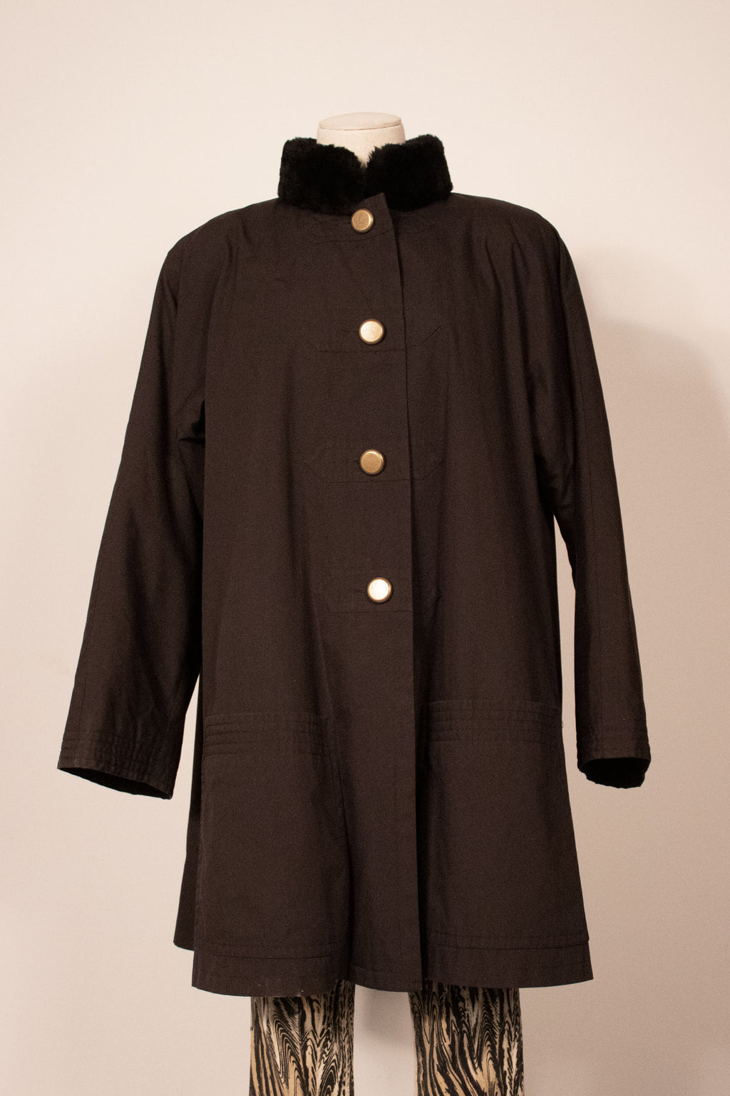 YSL black Asian ispired fur lined coat