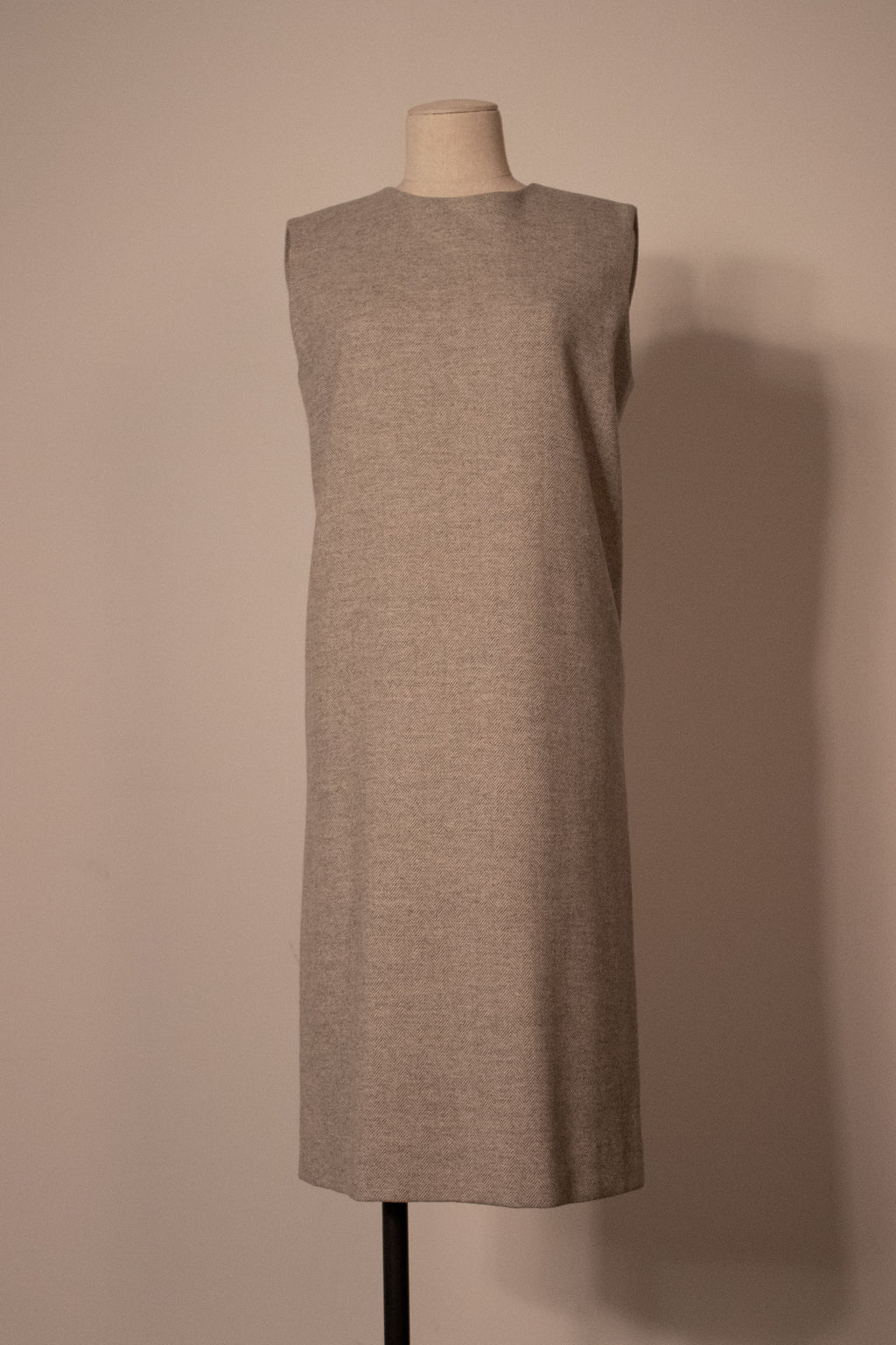 Hermes grey wool chevron sleeveless dress