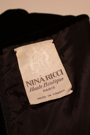 Nina Ricci black velvet and red striped taffetta gown