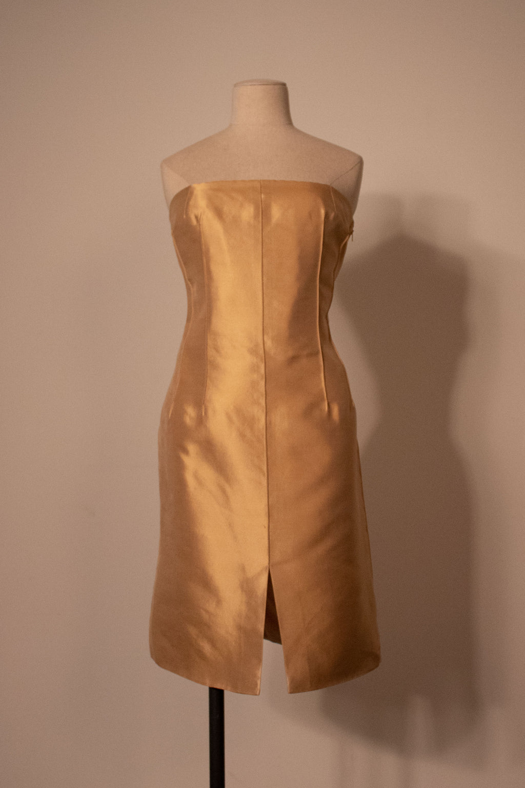 YSL champagne golden satin strapless bustier dress
