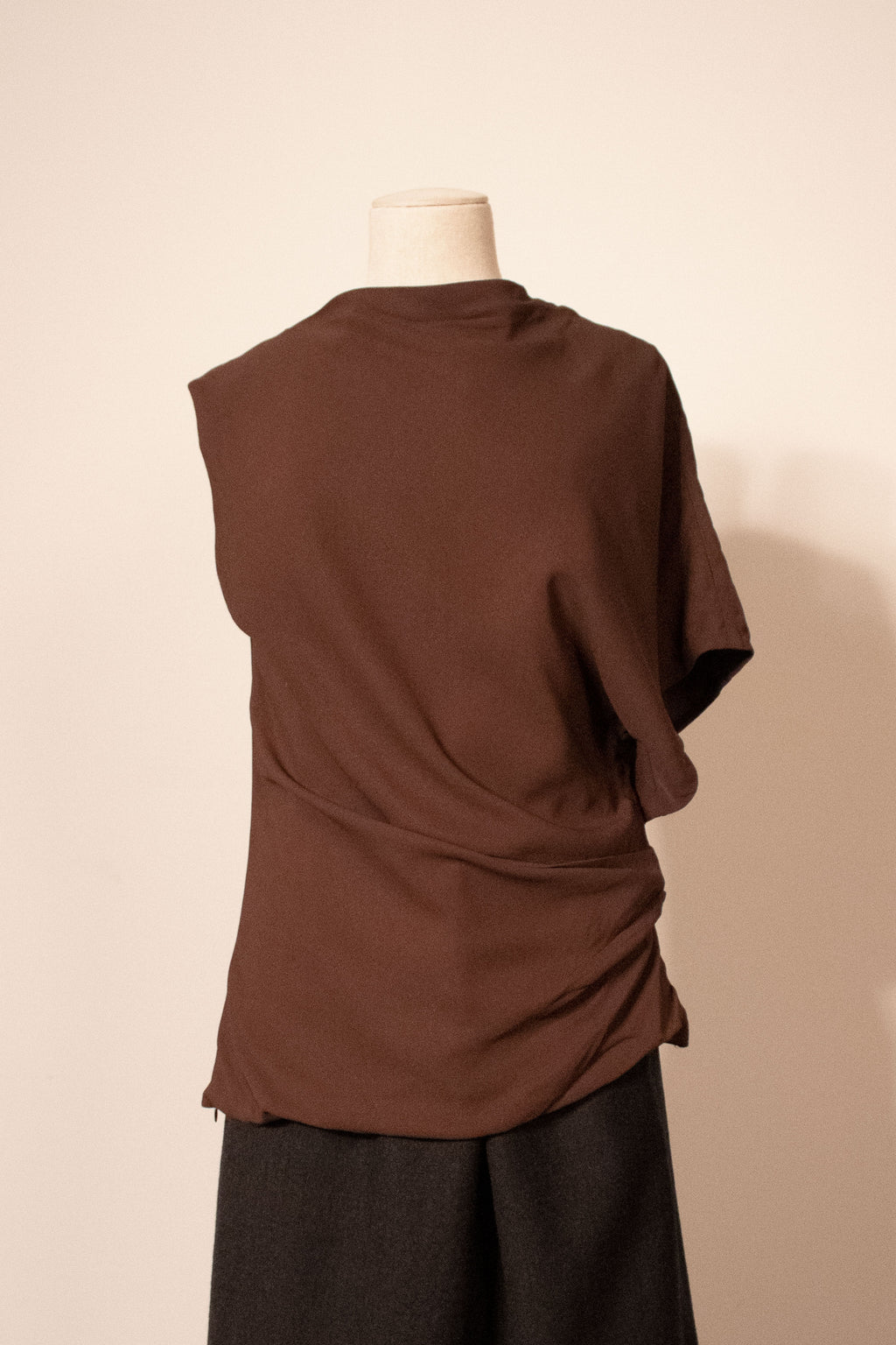 Balenciaga brown draped rayon top