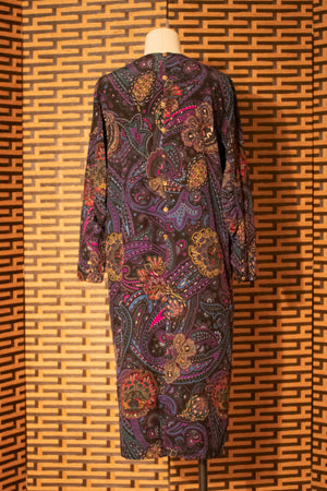 Hanae Mori paisley silk shift dress