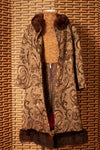 Wool tapestry coat with fur trim