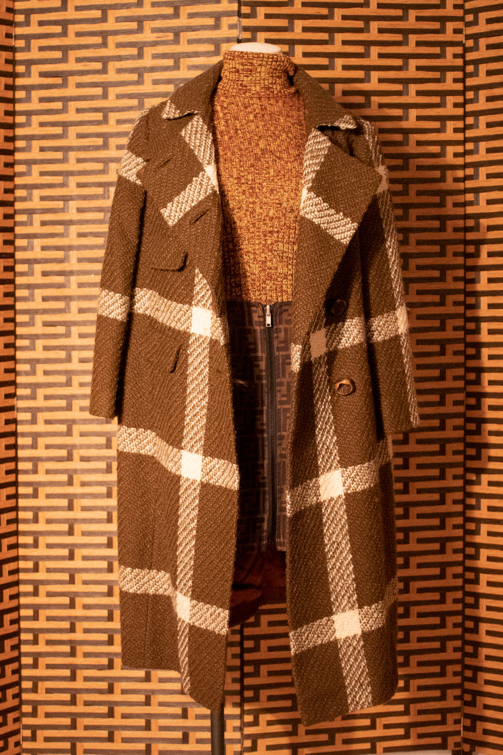 George Carmel for Helen Siki Couture Tweed Plaid Coat