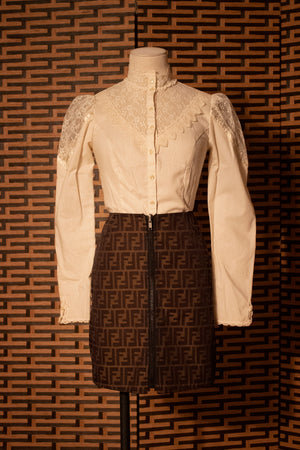 Gunne Sax cotton & lace button front blouse