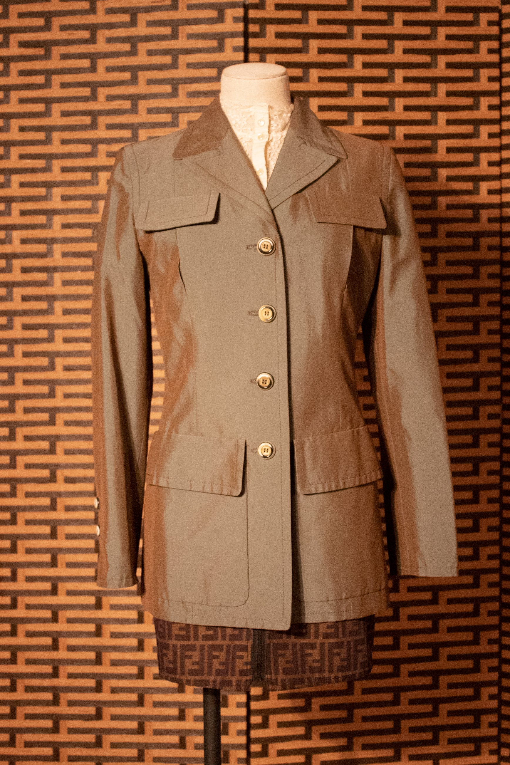 Gianfranco Ferre iredescent military jacket