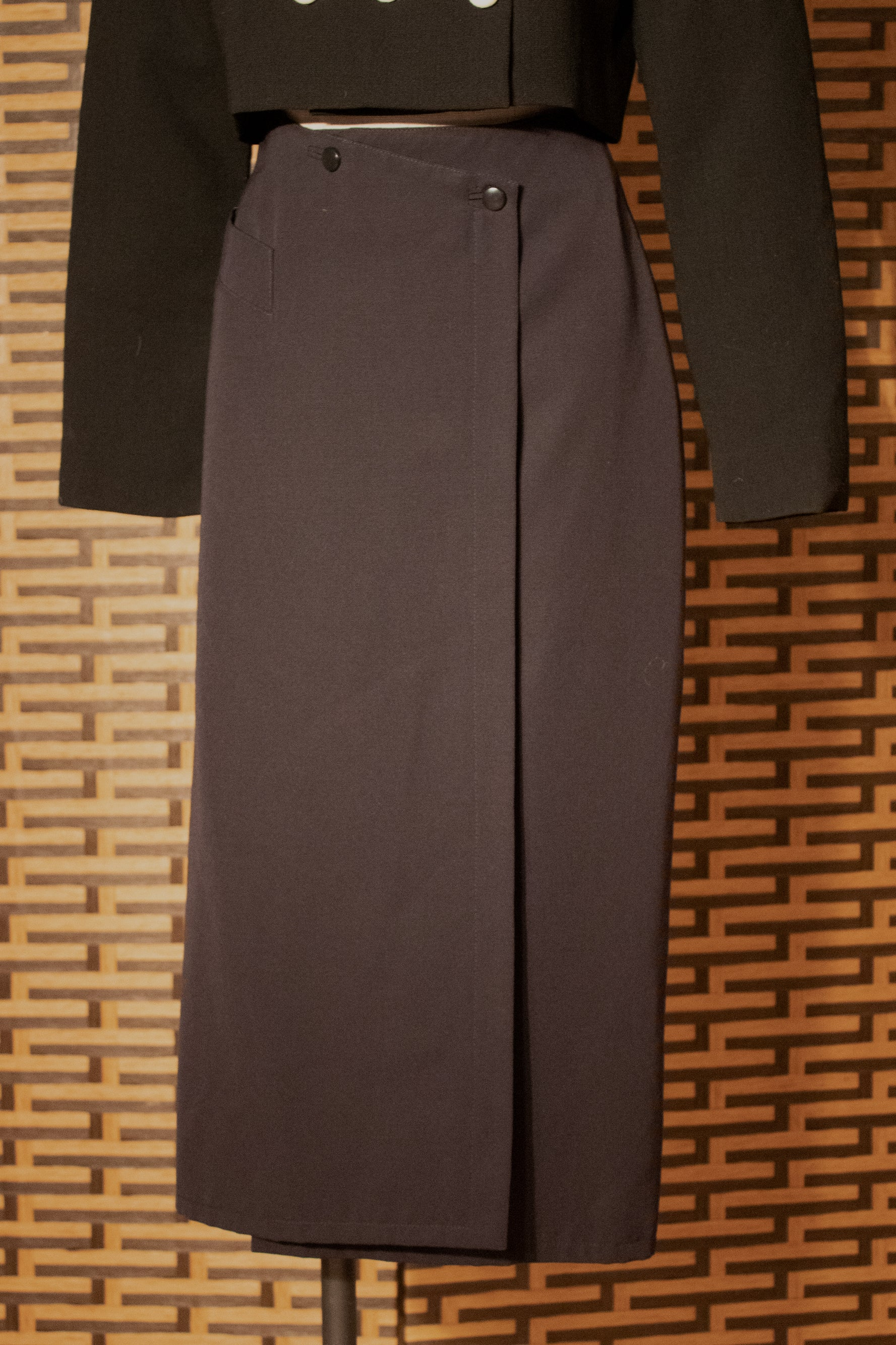 Claude Montana navy wool wrap skirt