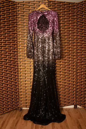 Ombre sequin bell sleeve silk gown