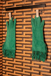 Hermes Paris kelly green fringe driving gloves