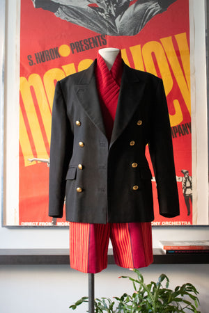 Jean Paul Gaultier black wool double breasted blazer