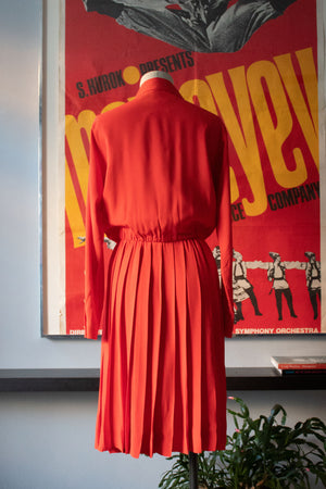 Yves Saint Laurent coral rayon pleated shirt dress