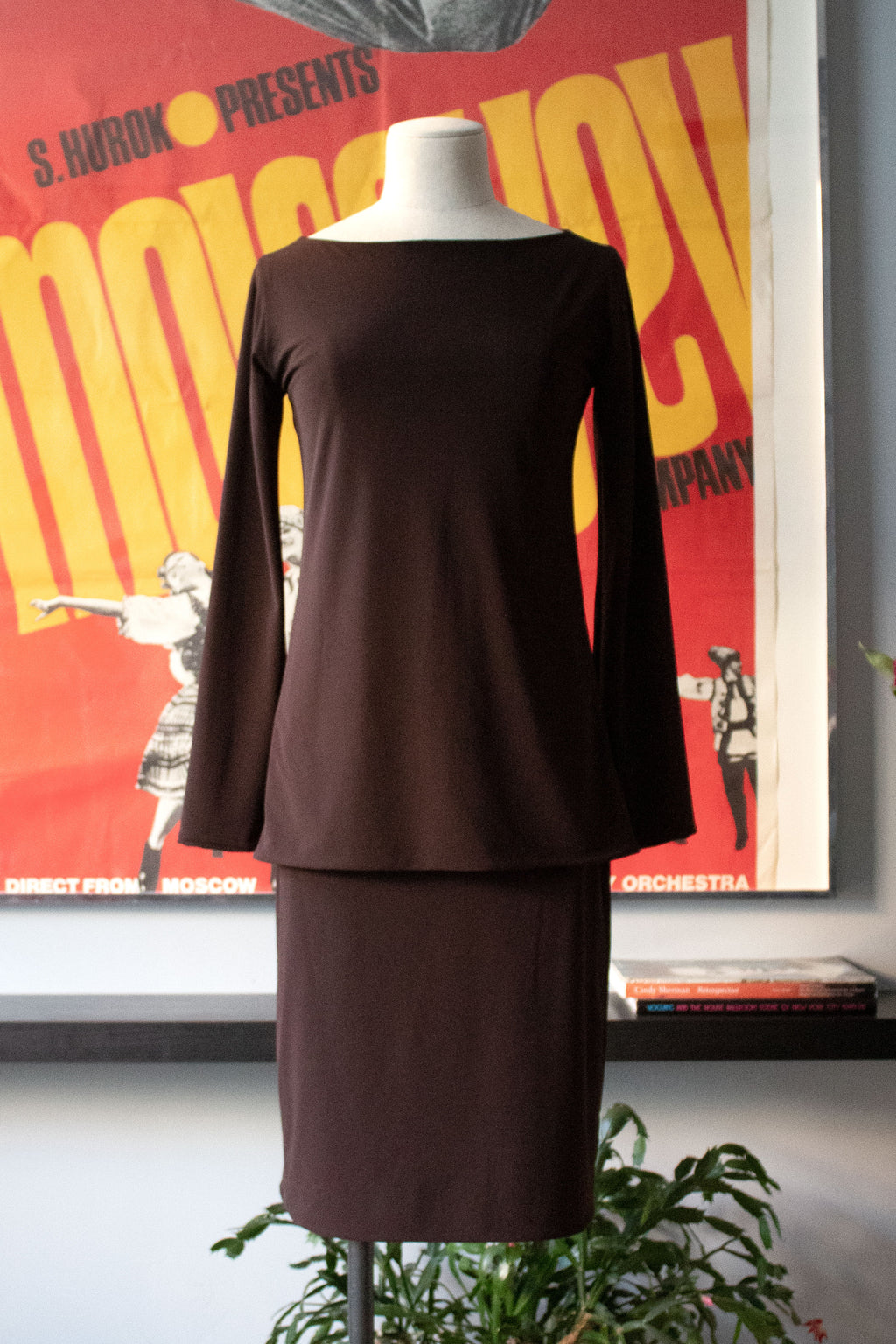 OMO Norma Kamali brown strech skirt suit