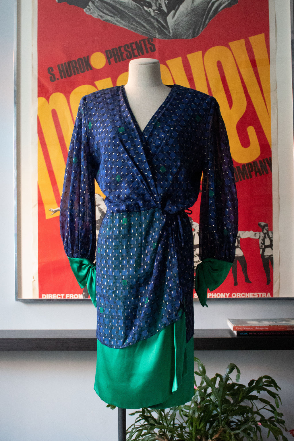 Dramatic 1980s blue and metallic wrap dress