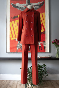 Devon Hall burnt orange wool pant suit