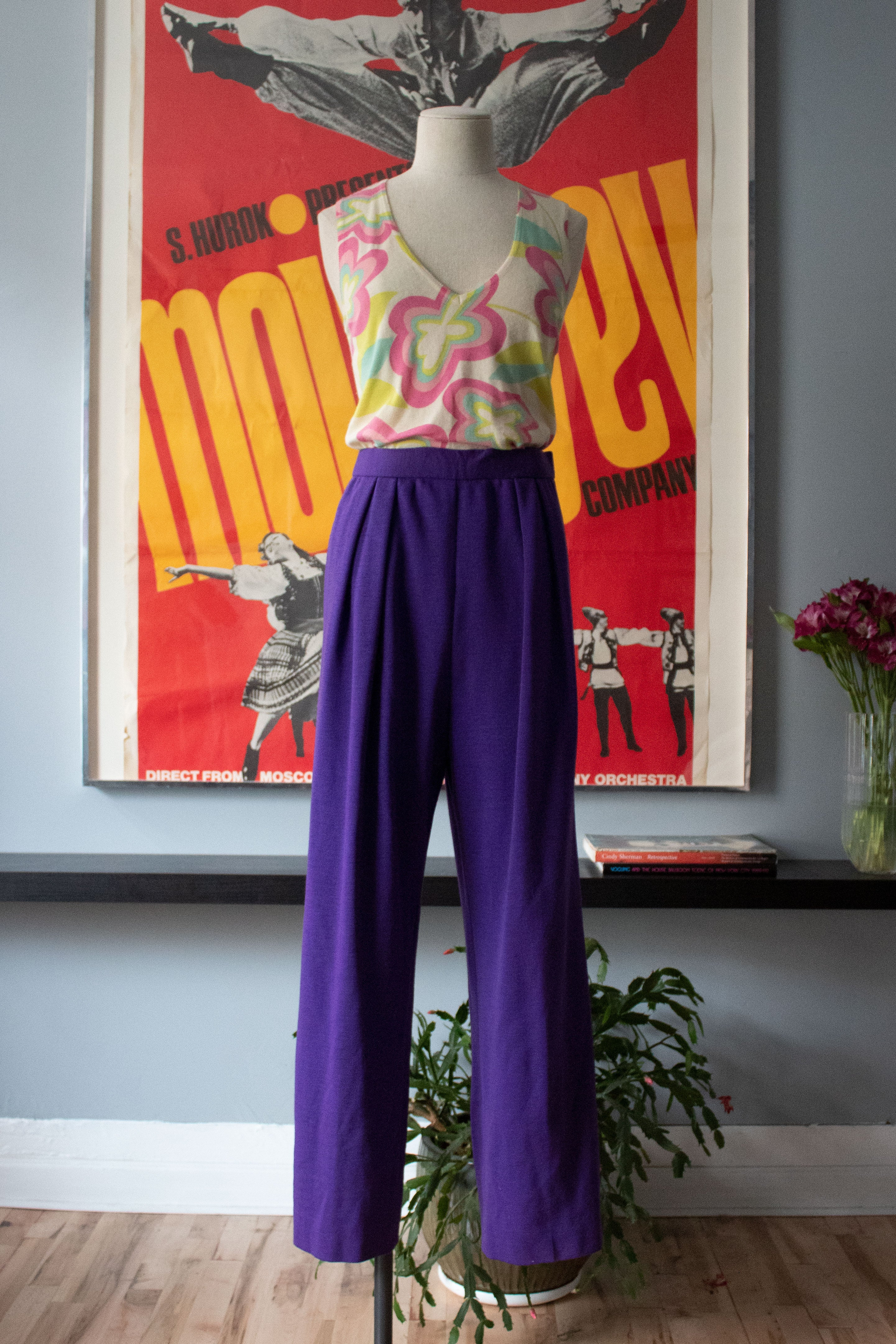 Oscar de la Renta purple wool jersey trousers