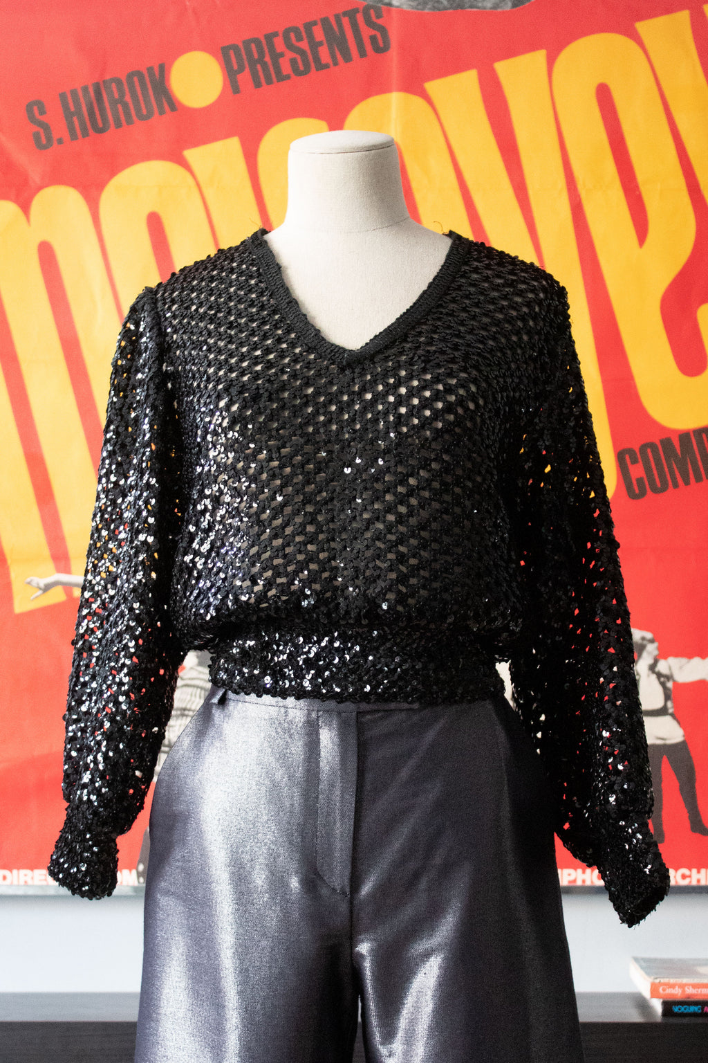 Black sequin mesh top