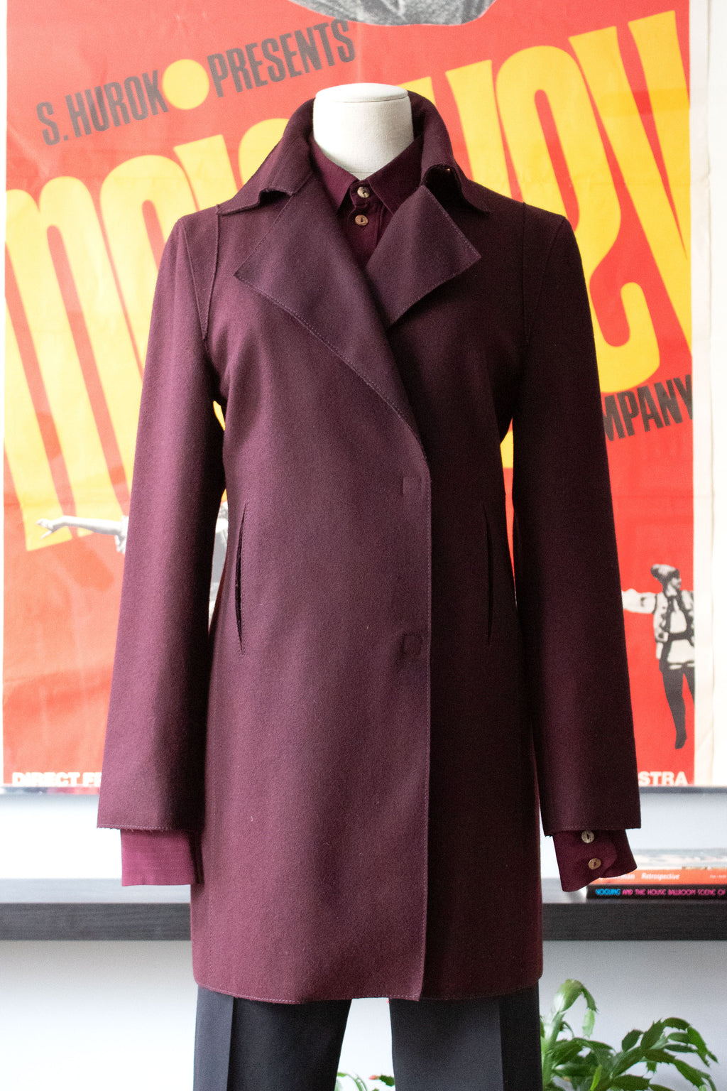 Claude Montana burgundy wool jacket