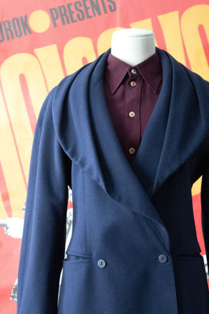 Claude Montana navy wool double breasted blazer