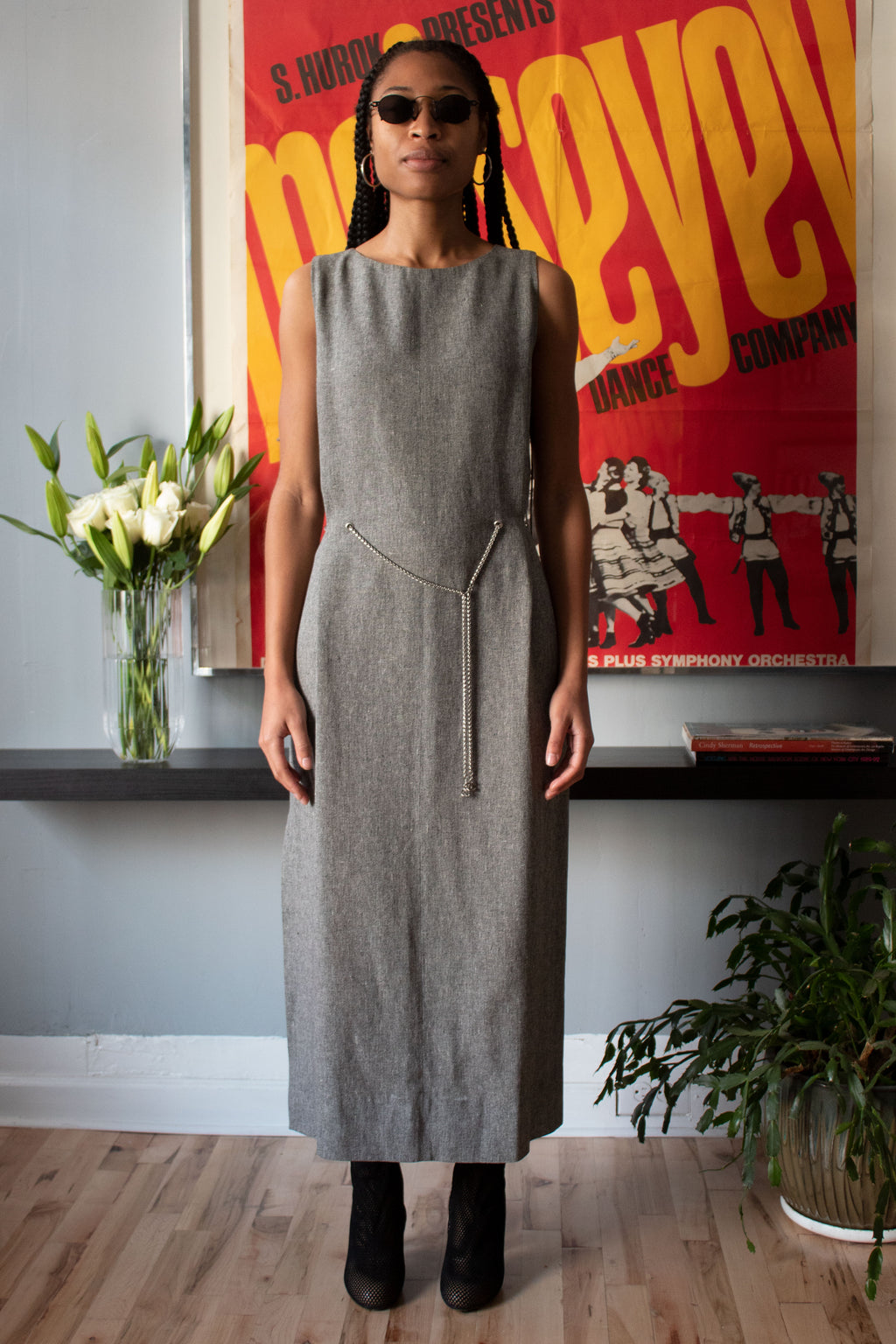 Chanel grey linen belted dress