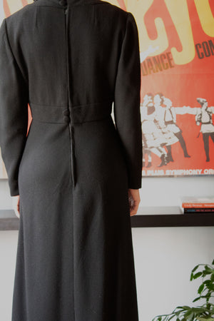 Donald Brooks black wool blend long sleeve dress
