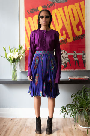 Ungaro purple paisely wool blend accordian pleated skirt