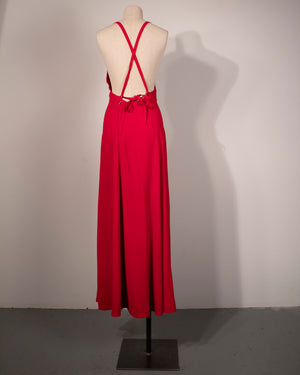 Ossie Clark red moss crepe halter dress