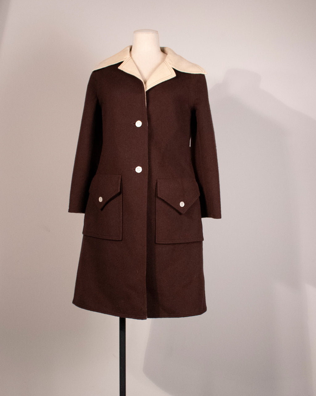 James Galanos brown wool coat