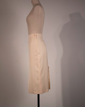 Alexander McQueen white wool skirt