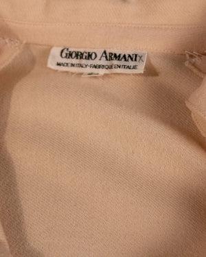 Giorgio Armani cream wool pop-over blouse