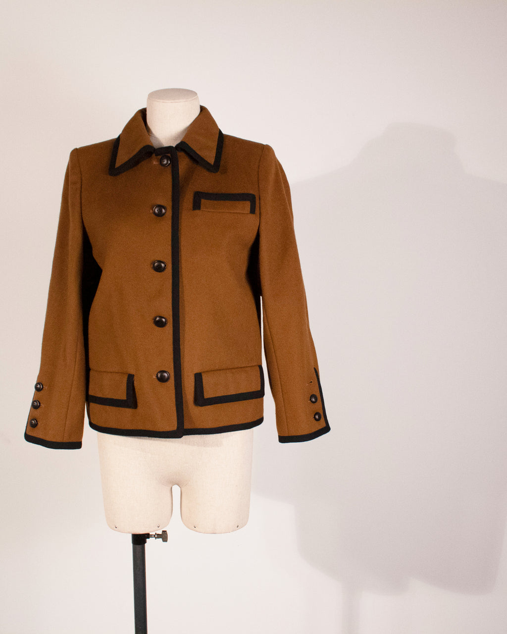 Saint Laurent Rive Gauche brown wool cropped jacket