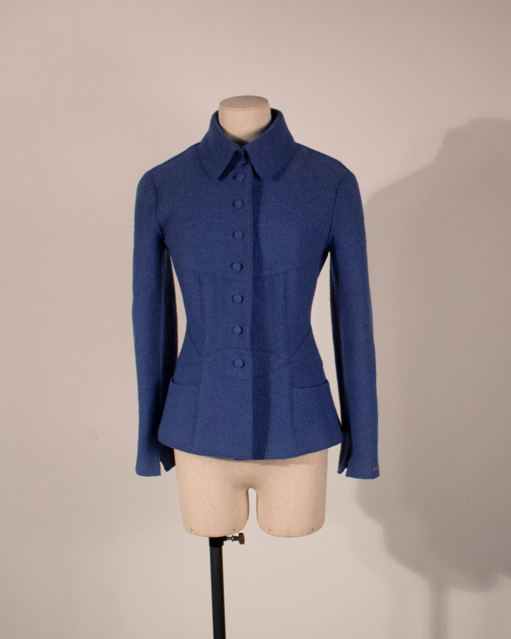 Chanel cornflower blue boiled wool jacket