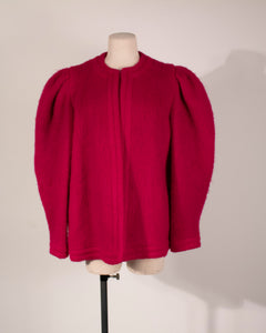 Lanvin Paris fuchsia wool sculptural jacket