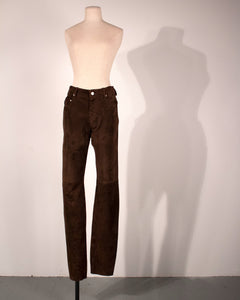 Hermès by Martin Margiela brown suede trousers