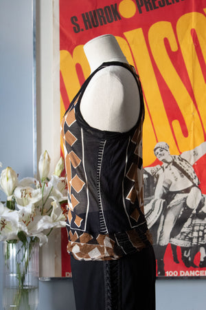 Jean Paul Gaultier silk geometric racerback top
