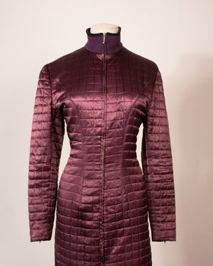 Jean Paul Gaultier pour Gibo purple rayon quilted midi dress