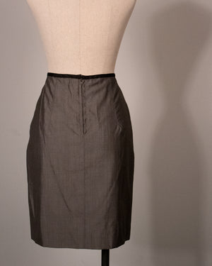 Jean Paul Gaultier gunmetal sharkskin skirt suit