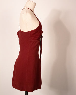 Jean Paul Gaultier Classique maroon crepe mini dress