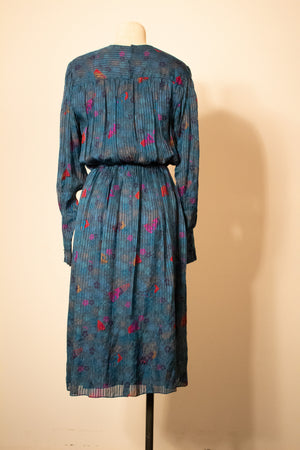 Hanae Mori blue silk prairie dress